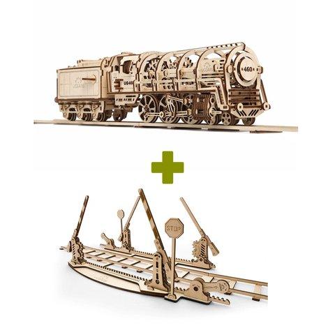 Механический 3D-пазл UGEARS Набор 2 в 1: Локомотив + Рельсы